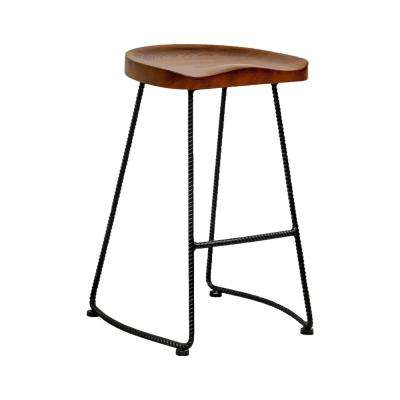 Potter Wood Counter Stool with Rustic Metal Legs 26 in. Walnut Bar Stool (Set of 2)