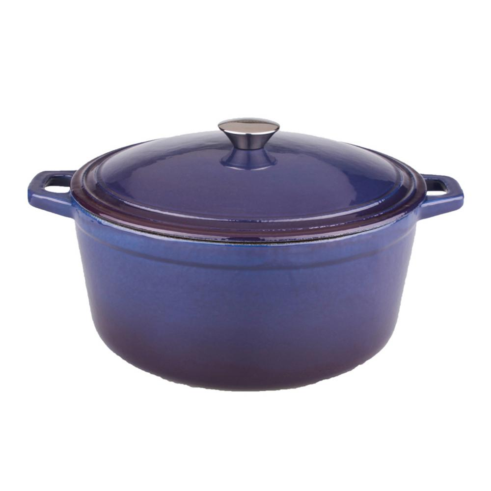 Neo 5 Qt. Purple Oval Cast Iron Casserole Dish with Lid