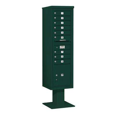 3400 Series Green Mount 4C Pedestal Mailbox with 9 MB1 Doors/1 PL