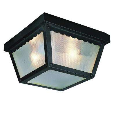 Stewart 1-Light Outdoor Black Incandescent Flush Mount