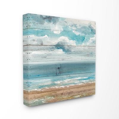 """30 in. x 30 in. """"Ocean View Painted Planked Look"""" by Molly Susan Strong Canvas Wall Art"""