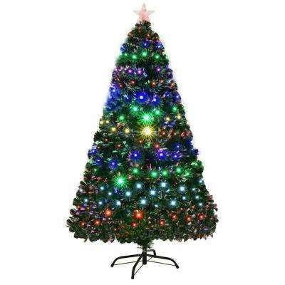 5 ft. Pre-Lit Artificial Christmas Tree Fiber Optic Multi-Color LED Lights and Stand