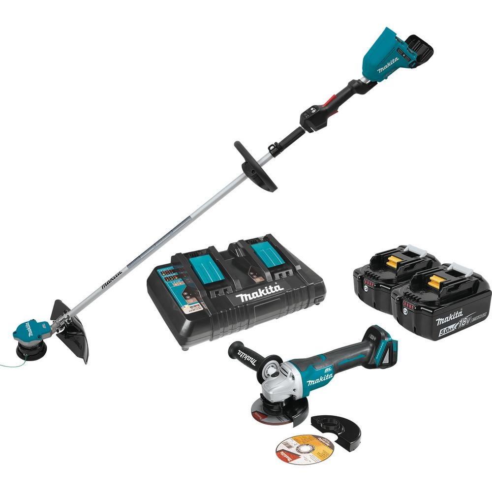 Makita 18-Volt X2 (36-Volt) LXT Lithium-Ion Brushless Cordless String Trimmer Kit (5.0Ah) and Brushless Angle Grinder