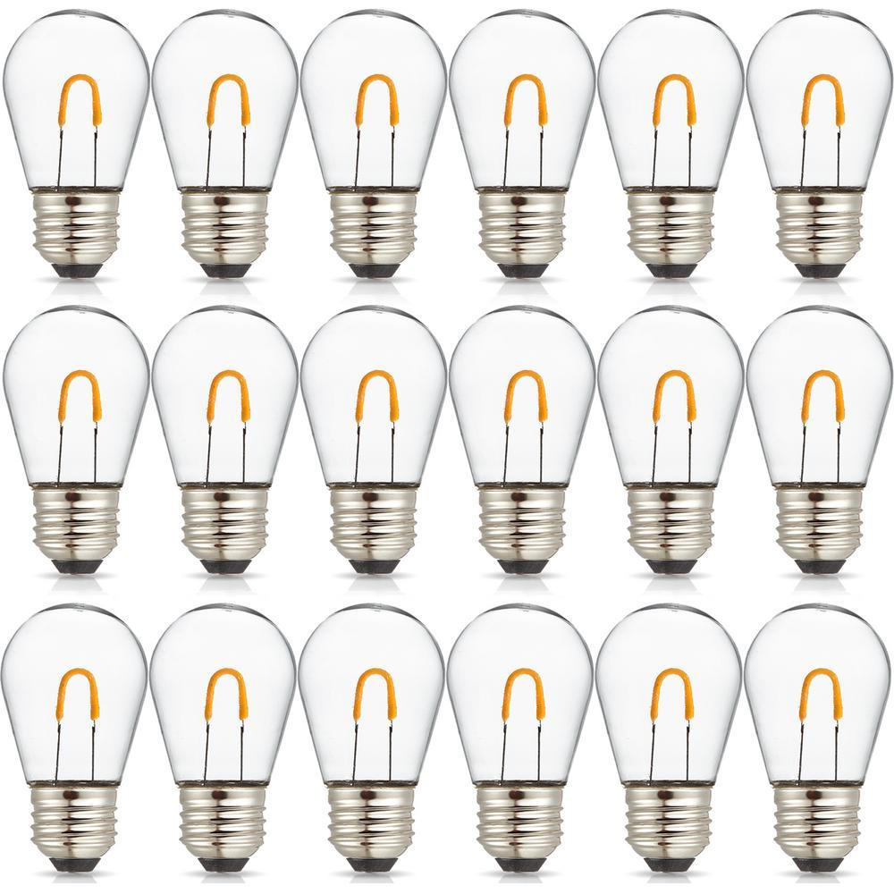 11-Watt Equivalent Curved Filament S14 LED Plastic Light Bulb Warm White (18-Pack)