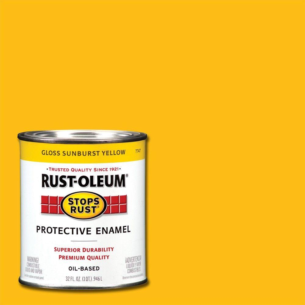 Rust-Oleum Stops Rust 1 qt. Protective Enamel Gloss Sunburst Yellow Interior/Exterior Paint (2-Pack)