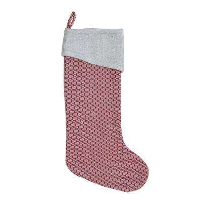 20 in. Cotton and Wool Cotton/Viscose Tannen Deep Red Traditional Christmas Decor Stocking
