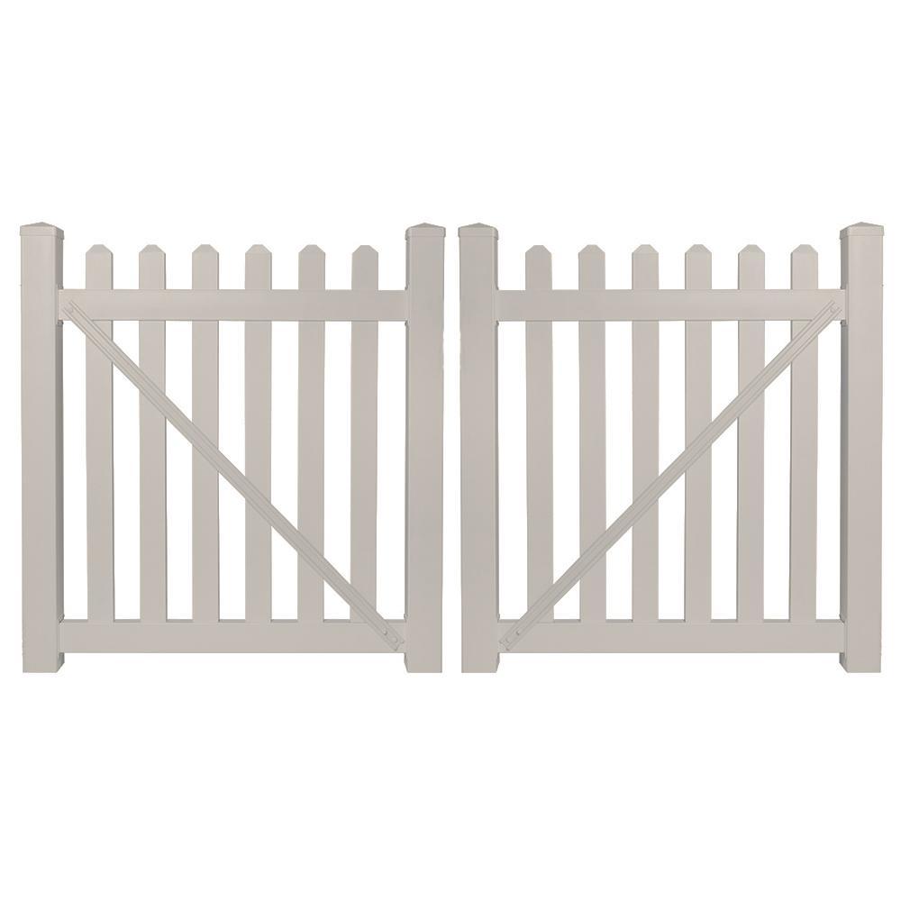 Chelsea 8 ft. W x 4 ft. H Tan Vinyl Picket Fence Gate