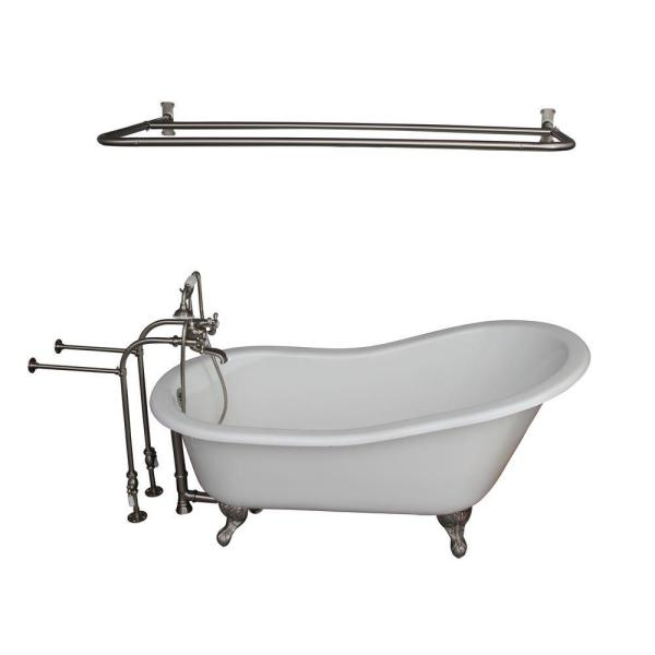 Barclay Products 5 6 Ft Cast Iron Ball And Claw Feet Slipper Tub In White With Brushed Nickel Accessories Tkctsn67 Bn6 The Home Depot