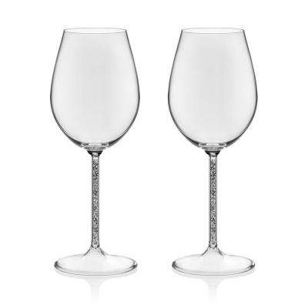 Glint 2-piece Silver Stem Wine Glass Set