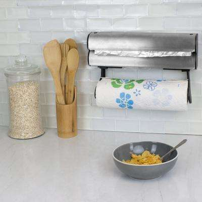 Wall Mount Paper Towel Holder with Integrated Wrap Dispenser