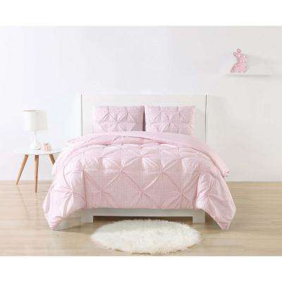Anytime Gingham Pinch Pleat Pink Full/Queen Comforter Set with 2-Shams