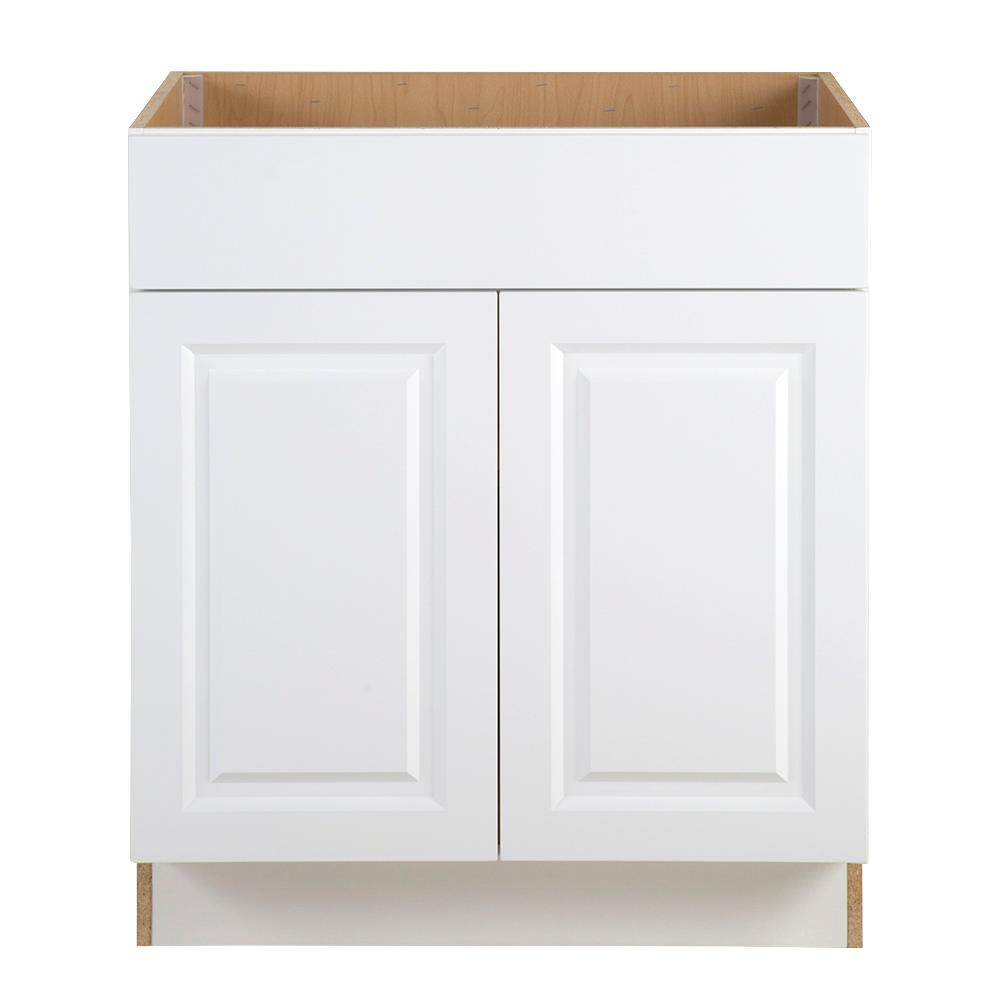 hampton bay benton assembled 30x245x345 in sink base cabinet with false white drawer front a36 front