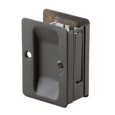 3-7/32 in. Black Pocket Door Pull with Passage Lock