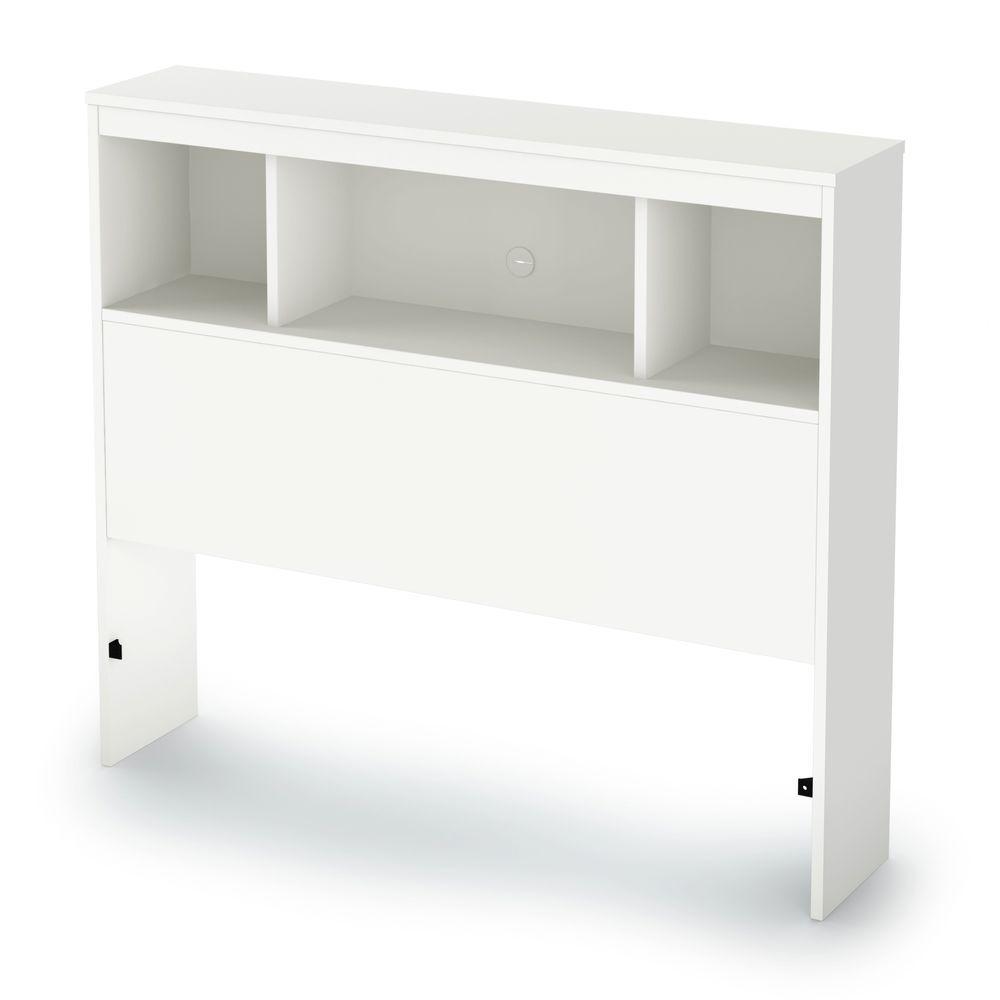 Spark Twin-Size Bookcase Headboard in Pure White