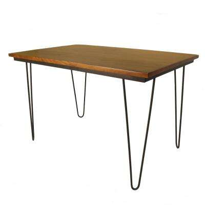 30 in x 48 in Griffith Elm and Black Bent Iron Leg Dining Table