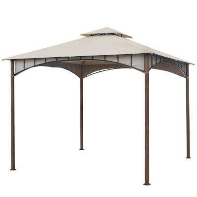 10 ft. x 10 ft. Beige Soft Top Metal/Steel Outdoor Patio Gazebo