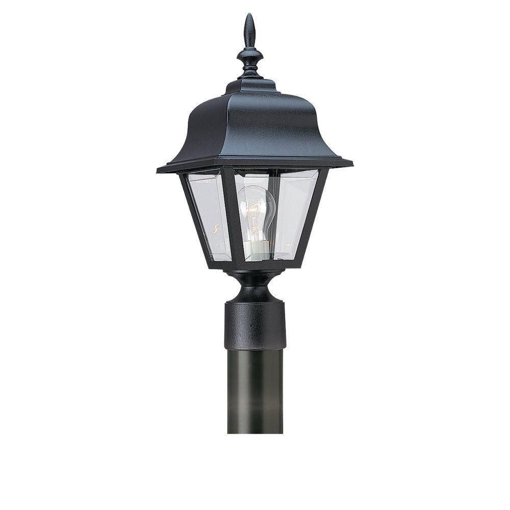 Sea Gull Lighting Painted Polycarbonate Lanterns Collection Black 1-Light Post Lantern