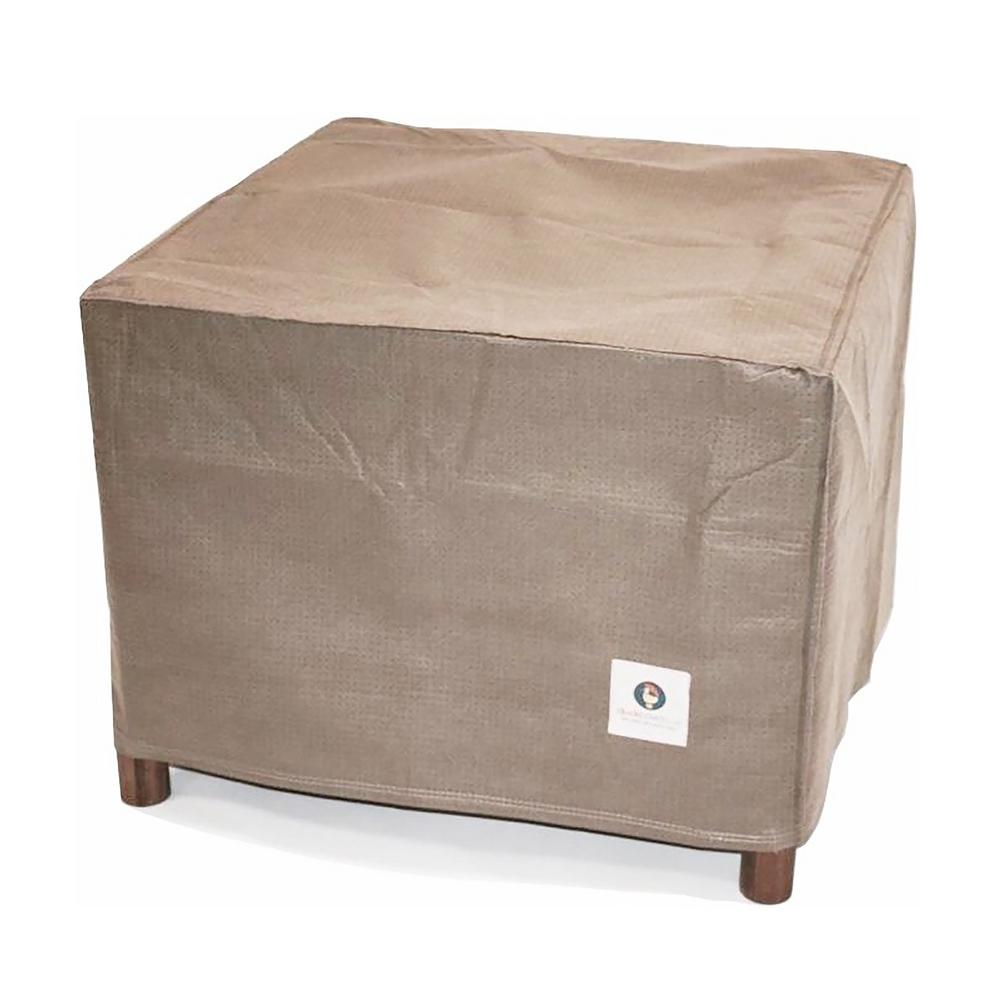 Duck Covers Elite 32 In Tan Square Patio Ottoman Or Side Table