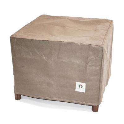 Elite 32 in. Tan Square Patio Ottoman or Side Table Cover
