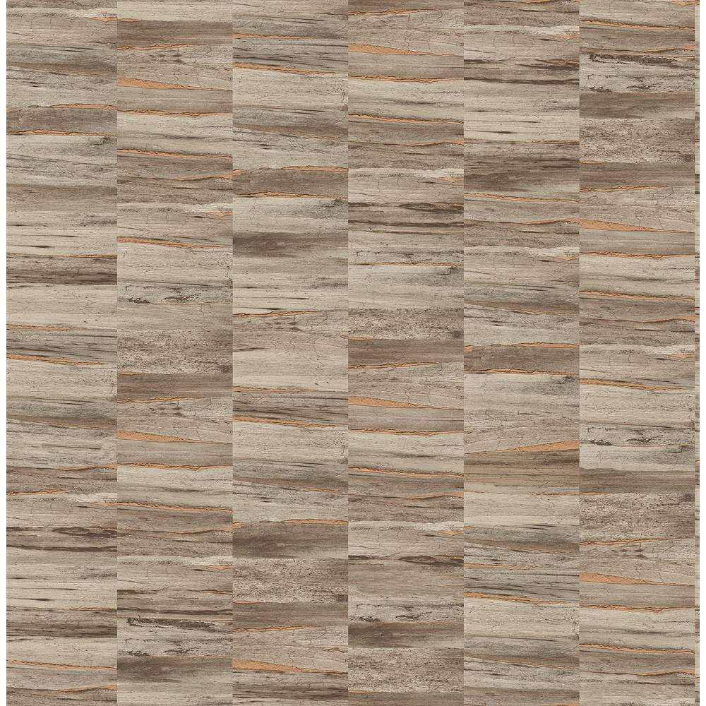 Hugo Brown Faux Wood Wallpaper Sample