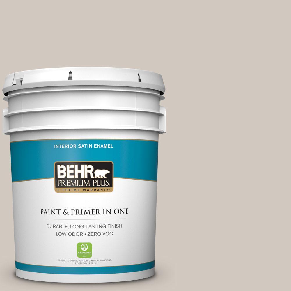 BEHR Premium Plus 5-gal. #N220-2 Ashen Tan Satin Enamel Interior Paint