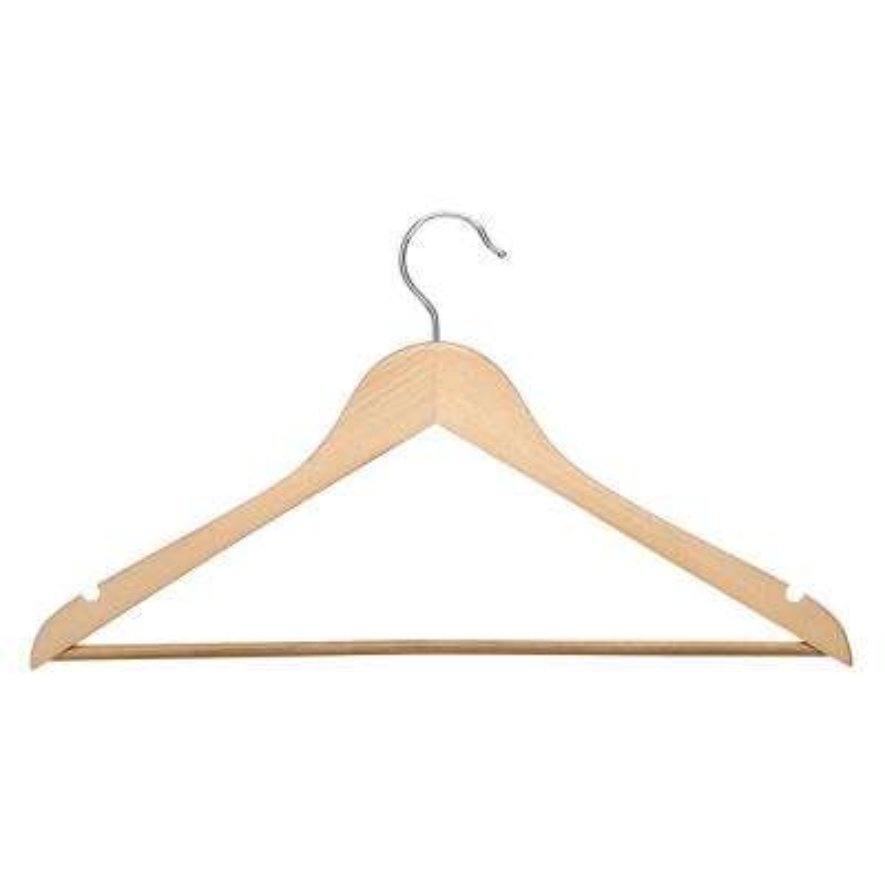 No Slip Wooden Coat Hanger, Maple Wood (24-Pack)