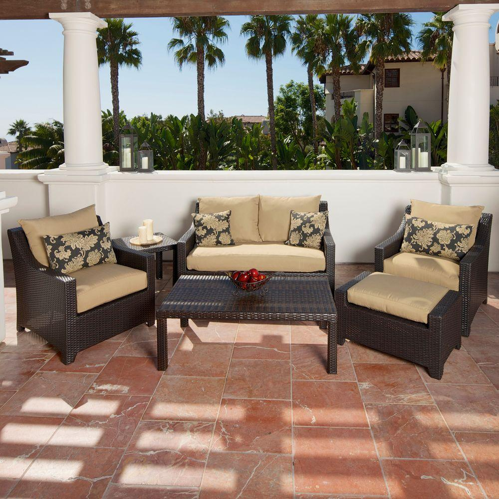 RST Brands Deco 6-Piece Patio Seating Set with Delano Beige Cushions