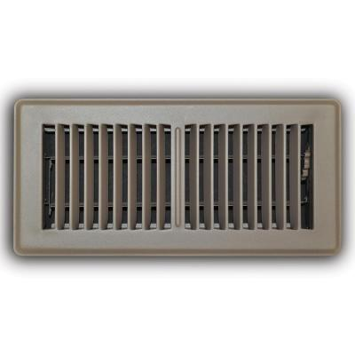 4 in. x 10 in. 2-Way Steel Floor Register in Brown