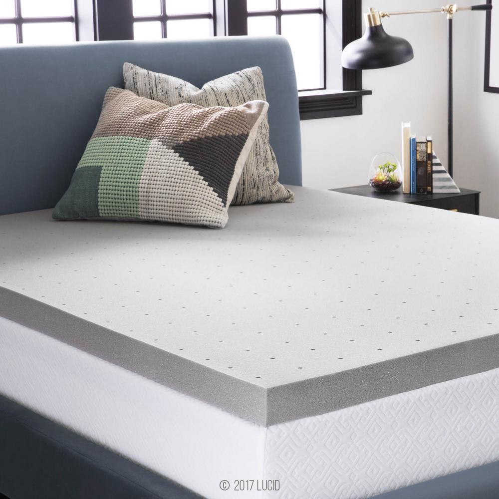 3 in. Twin XL Bamboo Charcoal Memory Foam Mattress Topper