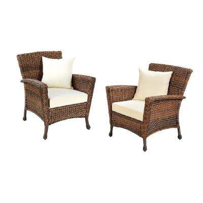 Rustic 2-Piece Wicker Outdoor Patio Lounge Chair with Beige Cushion