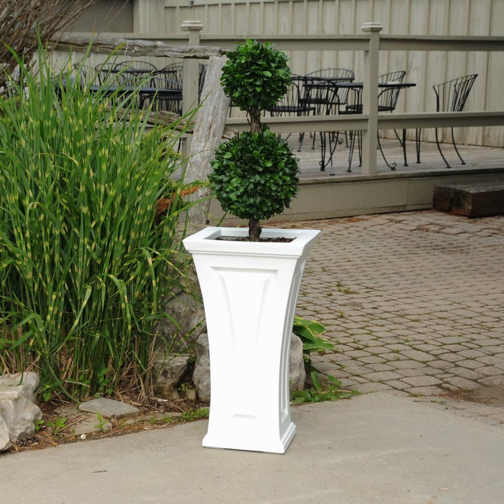 Cambridge 16 in. Square White Plastic Column Planter