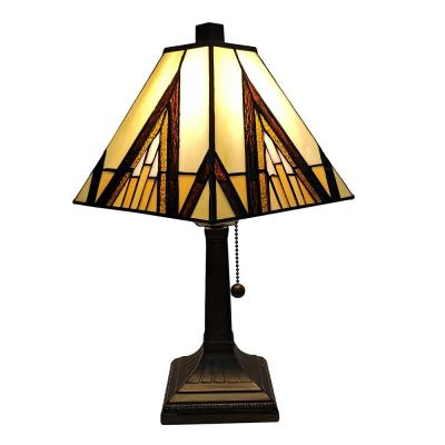 Tiffany 14.5 in. Brown and Ivory Table Lamp with Stained Glass Shade