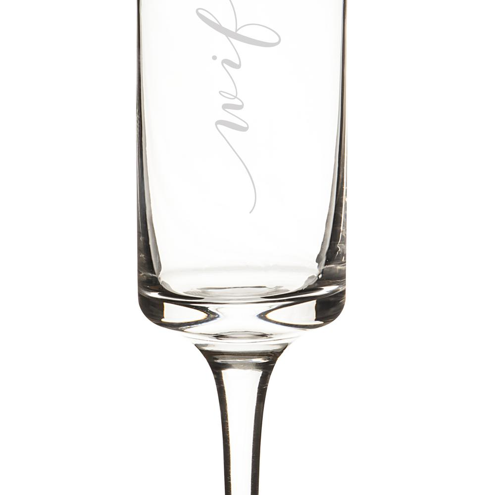 Hubby and Wifey 8 oz. Gold Rim Contemporary Champagne Flutes