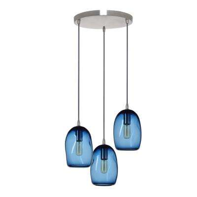 6 in. W x 9 in. H 3-Light Nickel Organic Contemporary Hand-Blown Glass Chandelier with Blue Glass Shades
