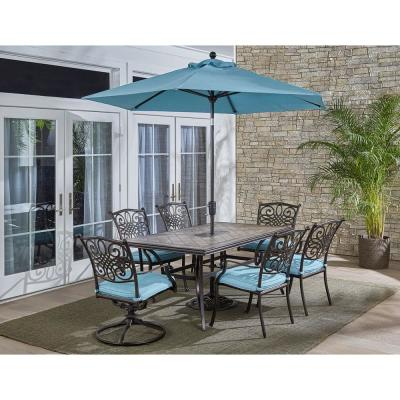 Monaco 7-Piece Aluminum Outdoor Dining Set with Blue Cushions (4-Chairs, 2-Swivel Tockers, Tile Table, Umbrella)