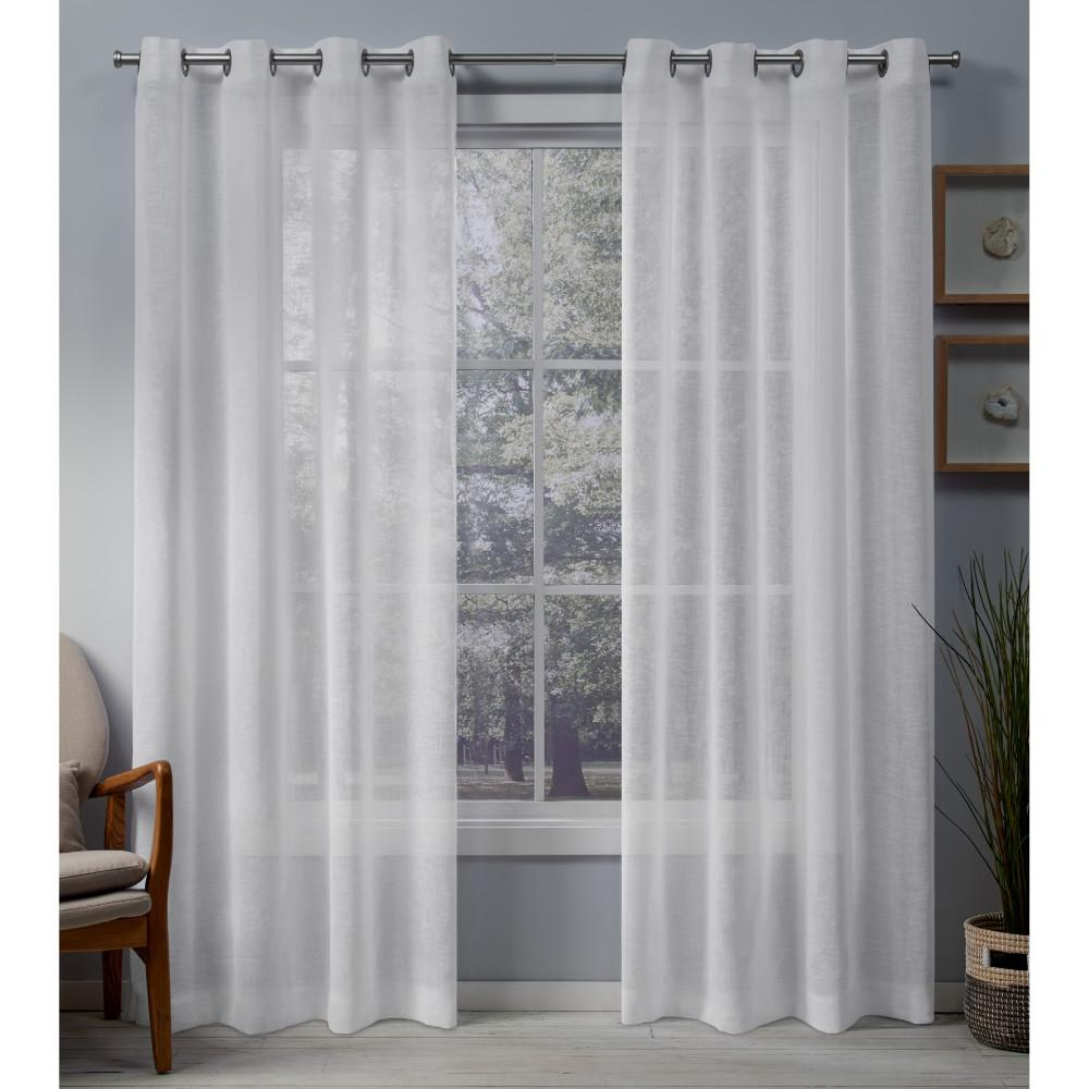 Exclusive Home Curtains Belgian 50 In W X 84 L Sheer Grommet Top Curtain Panel Winter White 2 Panels Eh8318 04 84g The Depot