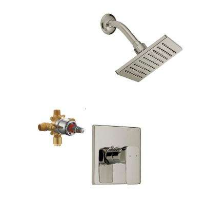 Karsen Single Handle 1-Spray Tub and Shower Faucet Trim Kit in Satin Nickel (Valve Included)