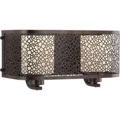 Mingle Collection 2-Light Antique Bronze Bathroom Vanity Light with Glass Shades