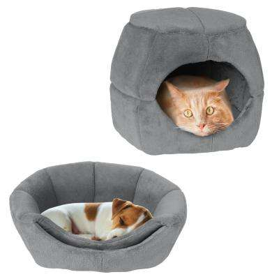 Small Light Gray 2-in-1 Convertible Pet Bed with Enclosed Cave