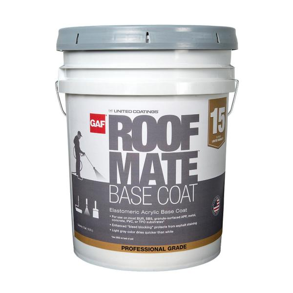 Gaf Roof Mate Base Coat 5 Gal Light Gray Acrylic Reflective Elastomeric Roof Coating 15 Year Limited Warranty 890277419 The Home Depot