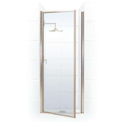 Legend Series 24 in. x 64 in. Framed Hinged Shower Door in Brushed Nickel with Clear Glass