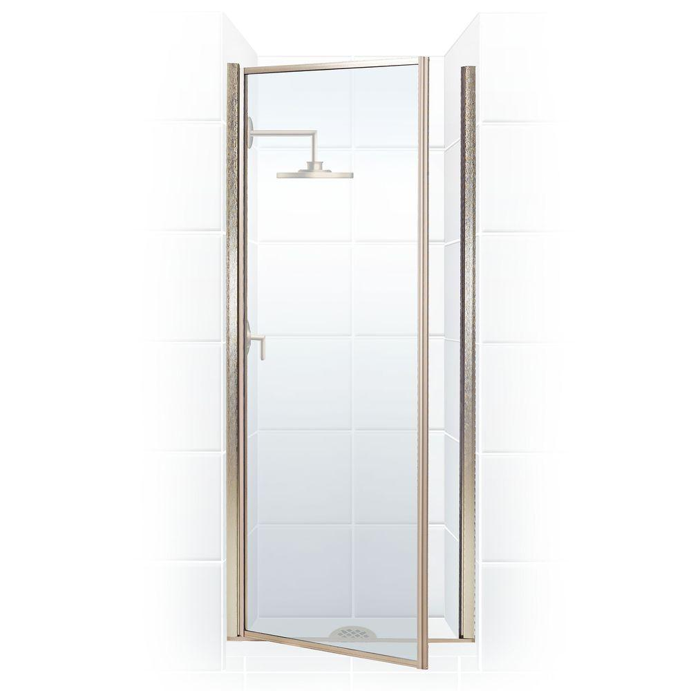 coastal shower doors legend series 28 in x 68 in framed hinged shower door in brushed nickel with clear the home depot