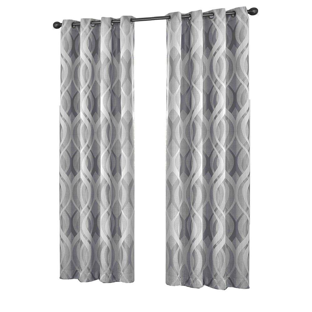 Eclipse Caprese Blackout Window Curtain Panel in Silver - 52 in. W x 95 in. L