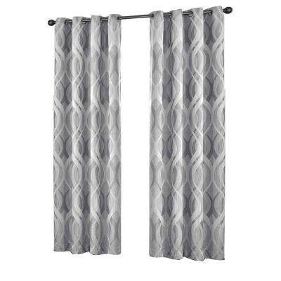Caprese Blackout Window Curtain Panel in Silver - 52 in. W x 95 in. L