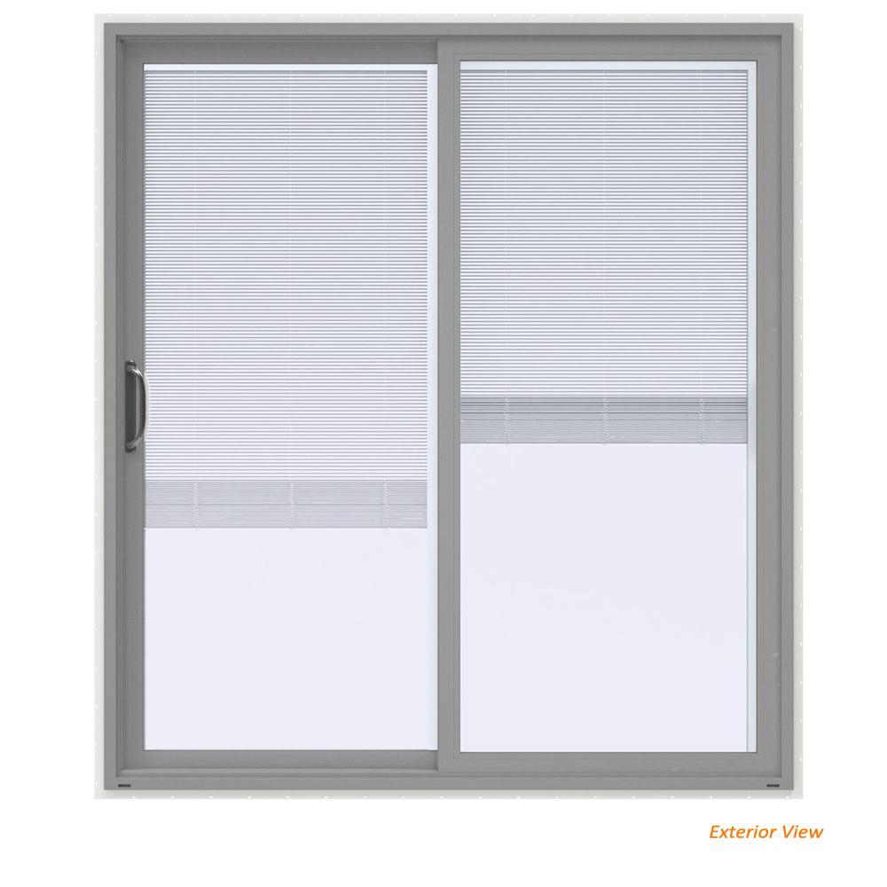 V 4500 Contemporary Silver Paint Vinyl Left Hand Full Lite Sliding Patio Door W White Interior Blinds