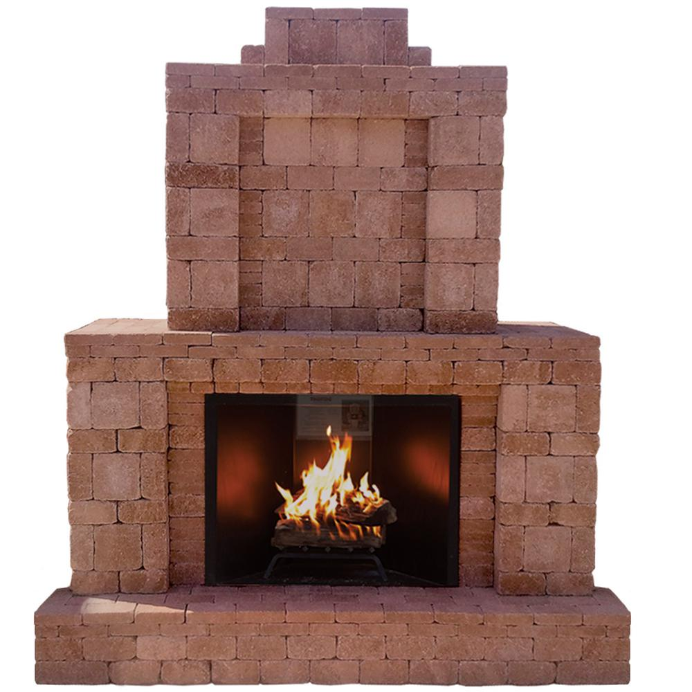 Pavestone RumbleStone 84 in. x 38.5 in. x 94.5 in. Outdoor Stone Fireplace in Cafe
