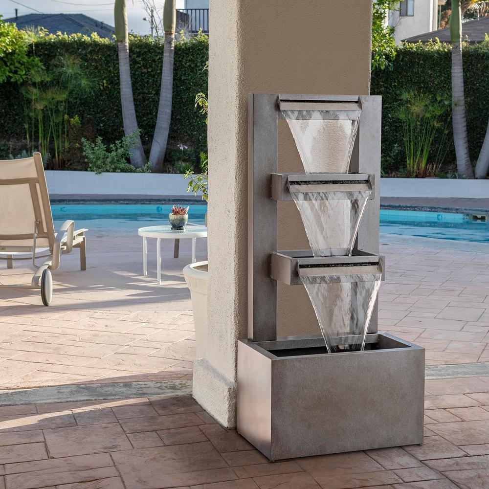 43 in. Tall Indoor/Outdoor Multi-Tier Modern Industrial Metal Fountain