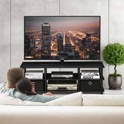 Furinno Econ Espresso/Black TV Entertainment Center with Storage Bins