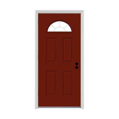 30 in. x 80 in. Fan Lite Mesa Red Painted Steel Prehung Right-Hand Outswing Front Door w/Brickmould