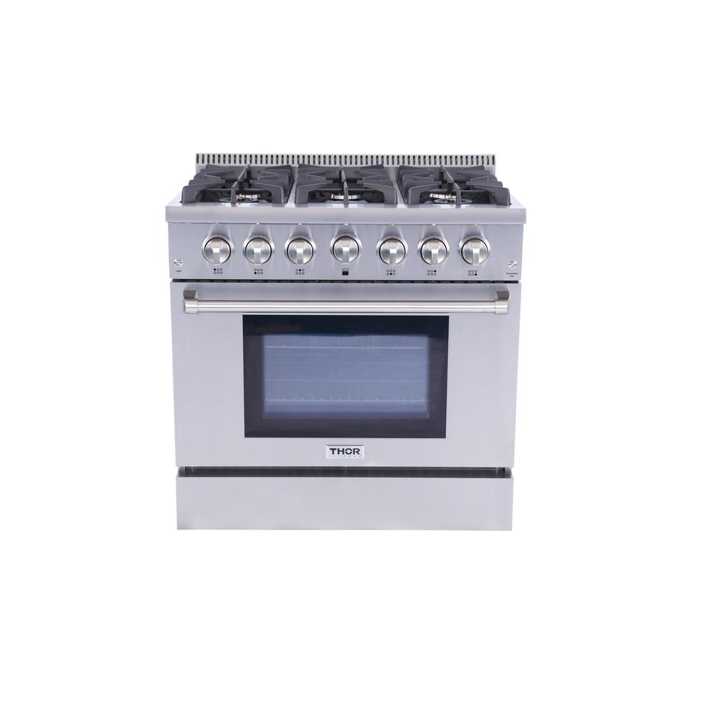 Thor Kitchen 36 In 5 2 Cu Ft Professional Gas Range Stainless Steel